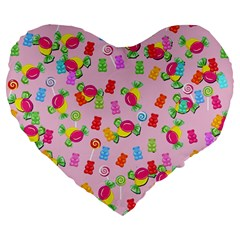 Candy Pattern Large 19  Premium Flano Heart Shape Cushions by Valentinaart