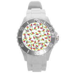 Candy Pattern Round Plastic Sport Watch (l) by Valentinaart