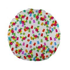 Candy Pattern Standard 15  Premium Flano Round Cushions by Valentinaart