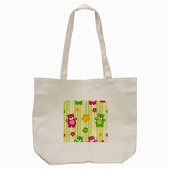 Animals Bear Flower Floral Line Red Green Pink Yellow Sunflower Star Tote Bag (cream) by Mariart