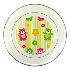 Animals Bear Flower Floral Line Red Green Pink Yellow Sunflower Star Porcelain Plates by Mariart