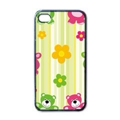 Animals Bear Flower Floral Line Red Green Pink Yellow Sunflower Star Apple Iphone 4 Case (black) by Mariart