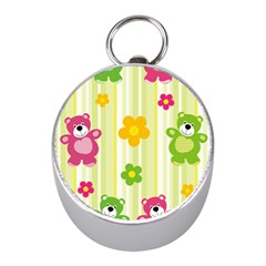 Animals Bear Flower Floral Line Red Green Pink Yellow Sunflower Star Mini Silver Compasses by Mariart