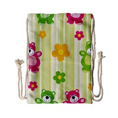 Animals Bear Flower Floral Line Red Green Pink Yellow Sunflower Star Drawstring Bag (small) by Mariart