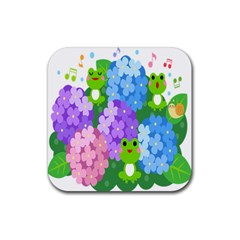 Animals Frog Face Mask Green Flower Floral Star Leaf Music Rubber Square Coaster (4 Pack)  by Mariart