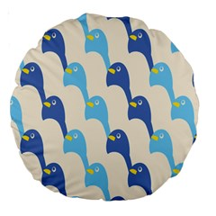 Animals Penguin Ice Blue White Cool Bird Large 18  Premium Round Cushions by Mariart