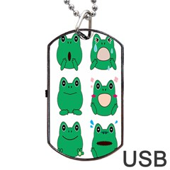 Animals Frog Green Face Mask Smile Cry Cute Dog Tag Usb Flash (one Side) by Mariart