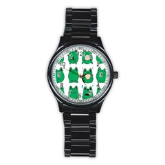Animals Frog Green Face Mask Smile Cry Cute Stainless Steel Round Watch by Mariart