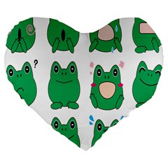 Animals Frog Green Face Mask Smile Cry Cute Large 19  Premium Flano Heart Shape Cushions by Mariart