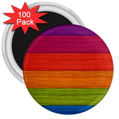 Wooden Plate Color Purple Red Orange Green Blue 3  Magnets (100 Pack) by Mariart