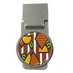 Chocolate Lime Brown Circle Line Plaid Polka Dot Orange Green White Money Clips (round)  by Mariart