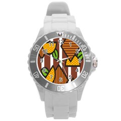 Chocolate Lime Brown Circle Line Plaid Polka Dot Orange Green White Round Plastic Sport Watch (l) by Mariart