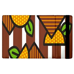 Chocolate Lime Brown Circle Line Plaid Polka Dot Orange Green White Apple Ipad 3/4 Flip Case by Mariart