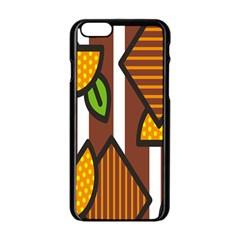 Chocolate Lime Brown Circle Line Plaid Polka Dot Orange Green White Apple Iphone 6/6s Black Enamel Case by Mariart