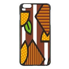 Chocolate Lime Brown Circle Line Plaid Polka Dot Orange Green White Apple Iphone 6 Plus/6s Plus Black Enamel Case by Mariart