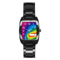 Circle Rainbow Color Hole Rasta Waves Stainless Steel Barrel Watch by Mariart