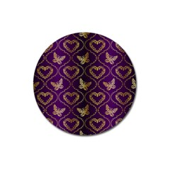 Flower Butterfly Gold Purple Heart Love Magnet 3  (round) by Mariart
