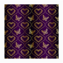 Flower Butterfly Gold Purple Heart Love Medium Glasses Cloth by Mariart