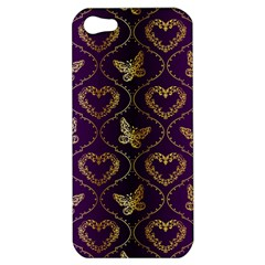 Flower Butterfly Gold Purple Heart Love Apple Iphone 5 Hardshell Case by Mariart