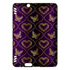Flower Butterfly Gold Purple Heart Love Kindle Fire Hdx Hardshell Case by Mariart