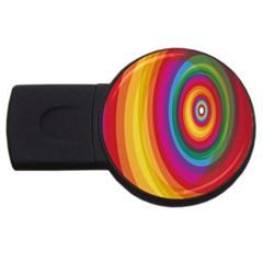Circle Rainbow Color Hole Rasta Usb Flash Drive Round (2 Gb) by Mariart