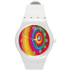 Circle Rainbow Color Hole Rasta Round Plastic Sport Watch (m) by Mariart