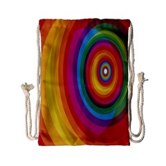 Circle Rainbow Color Hole Rasta Drawstring Bag (small) by Mariart