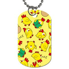 Animals Yellow Chicken Chicks Worm Green Dog Tag (two Sides) by Mariart