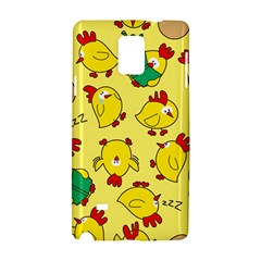 Animals Yellow Chicken Chicks Worm Green Samsung Galaxy Note 4 Hardshell Case by Mariart