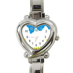 Cloud Blue Sky Sunflower Yellow Green White Heart Italian Charm Watch by Mariart