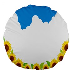 Cloud Blue Sky Sunflower Yellow Green White Large 18  Premium Round Cushions by Mariart