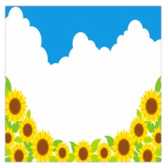 Cloud Blue Sky Sunflower Yellow Green White Large Satin Scarf (square) by Mariart