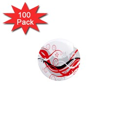 Flower Floral Star Red Wave 1  Mini Magnets (100 Pack)  by Mariart