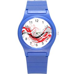 Flower Floral Star Red Wave Round Plastic Sport Watch (s) by Mariart