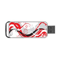 Flower Floral Star Red Wave Portable Usb Flash (two Sides) by Mariart