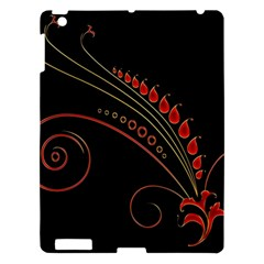 Flower Leaf Red Black Apple Ipad 3/4 Hardshell Case by Mariart