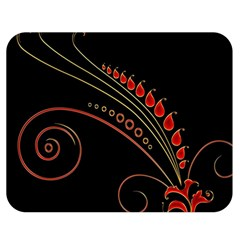 Flower Leaf Red Black Double Sided Flano Blanket (medium)  by Mariart