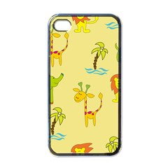 Cute Animals Elephant Giraffe Lion Apple Iphone 4 Case (black) by Mariart