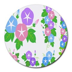 Flower Floral Star Purple Pink Blue Leaf Round Mousepads by Mariart