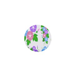 Flower Floral Star Purple Pink Blue Leaf 1  Mini Buttons by Mariart