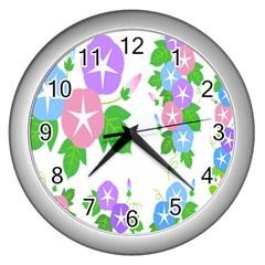 Flower Floral Star Purple Pink Blue Leaf Wall Clocks (silver)  by Mariart
