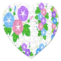 Flower Floral Star Purple Pink Blue Leaf Jigsaw Puzzle (heart) by Mariart