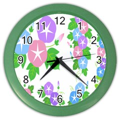 Flower Floral Star Purple Pink Blue Leaf Color Wall Clocks by Mariart