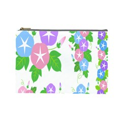 Flower Floral Star Purple Pink Blue Leaf Cosmetic Bag (large)  by Mariart