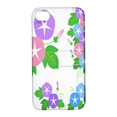 Flower Floral Star Purple Pink Blue Leaf Apple Iphone 4/4s Hardshell Case With Stand by Mariart