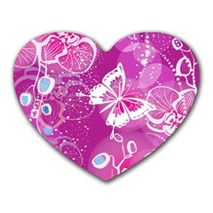 Flower Butterfly Pink Heart Mousepads by Mariart