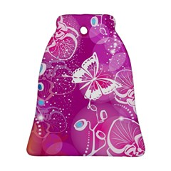 Flower Butterfly Pink Bell Ornament (two Sides)