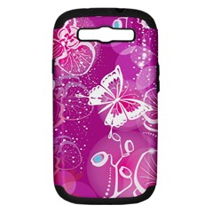 Flower Butterfly Pink Samsung Galaxy S Iii Hardshell Case (pc+silicone) by Mariart