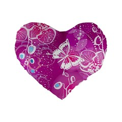 Flower Butterfly Pink Standard 16  Premium Flano Heart Shape Cushions by Mariart