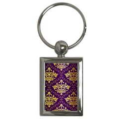 Flower Purplle Gold Key Chains (rectangle)  by Mariart